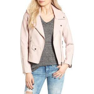 Blanknyc pink vegan leather moto jacket sz xs